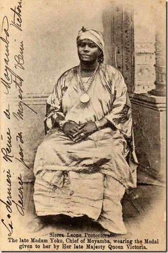 """""""Madam Yoko or Mammy Yoko (ca. 1849–1906) was a leader of the Mende people in Sierra Leone. Combining advantageous lineage, shrewd marriage choices and the power afforded her from the secret Sande society, Yoko became a leader of considerable influence. She expanded the Mende Kingdom and at the time of her death, she was the ruler of the vast Kpa Mende Confederacy."""""""