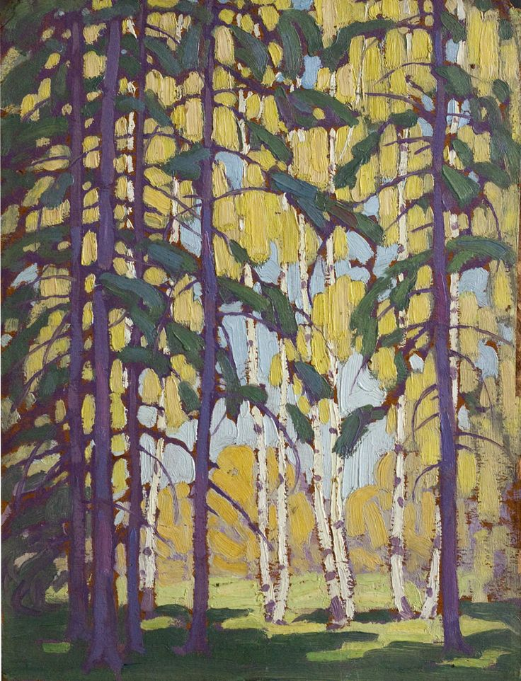 wetreesinart:  Lawren Harris (1885-1970), Algonquin Birches, oil on board (14x10.75 in) circa 1914