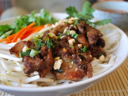 """Traditional Vietnamese """"Bun"""" - Vermicelli Noodle bowl. This one is made with grilled pork.  Another of my favorite dishes to make."""