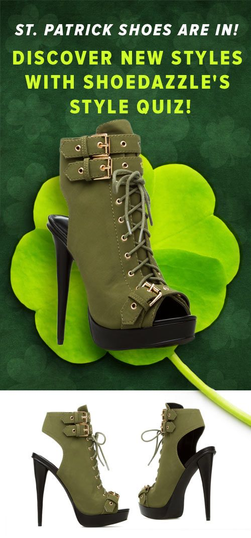 The Perfect St Patrick's Day Shoes Just Arrived! Dress up your Tough Girl look with this Military-Inspired Paper Fox peep-toe, platform bootie. Discover These Trendy Shoes Named Jonetta Along With Other Styles with ShoeDazzle's Style Quiz!