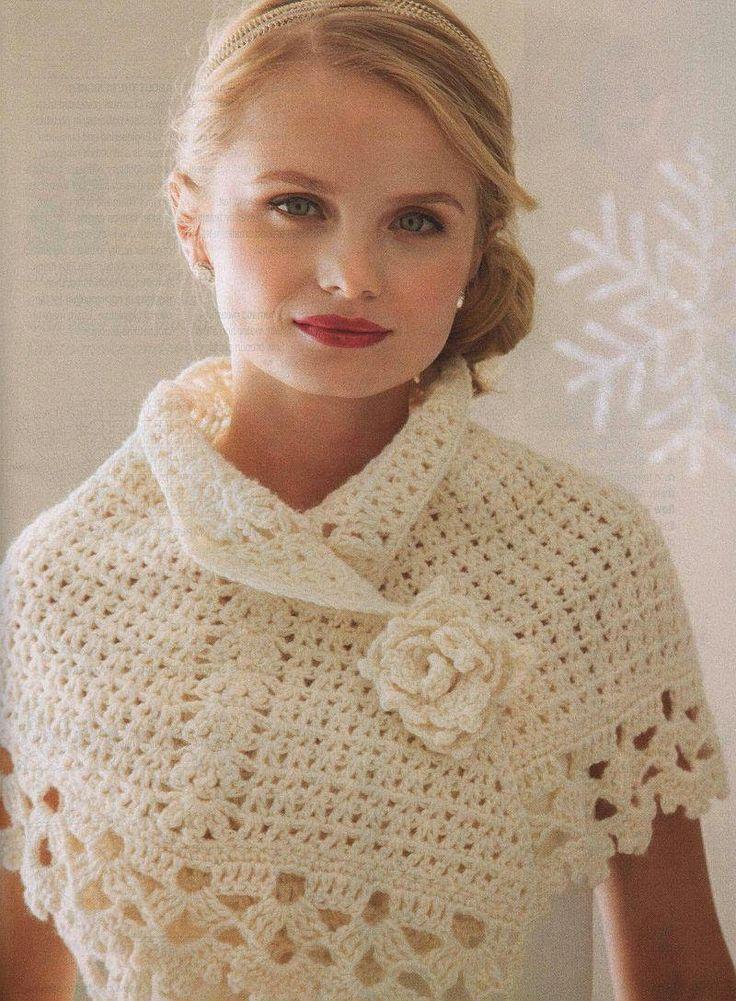 lo spazio di lilla: Romantico coprispalle crochet con schemi / Romantic crochet capelet with pattern