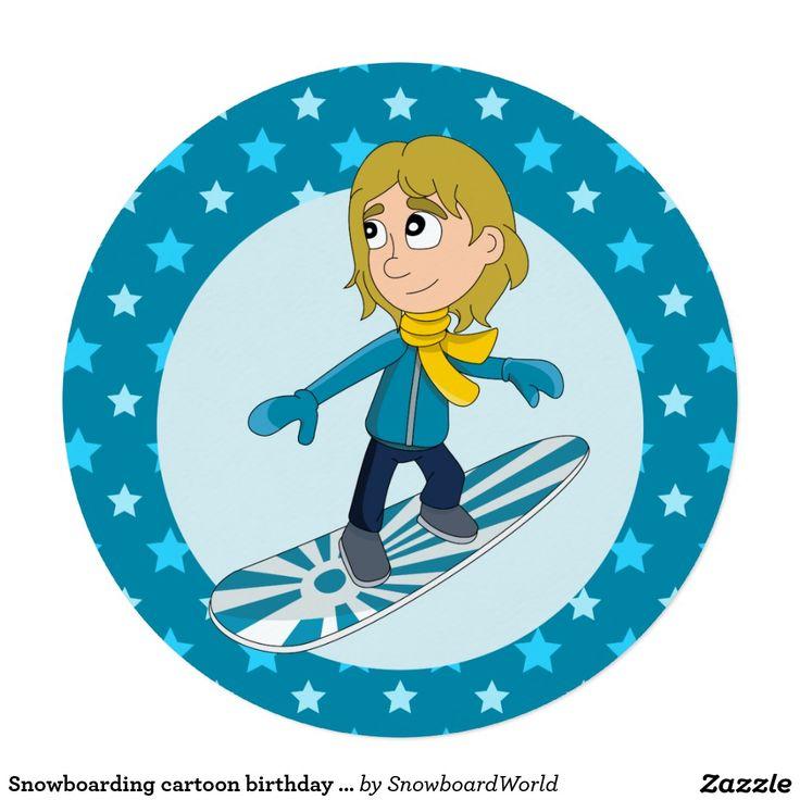 Snowboarding cartoon birthday print invitations