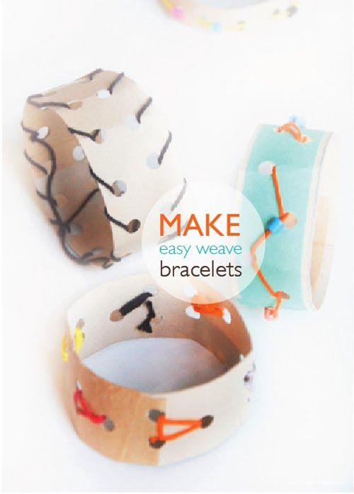 Easy Weave Bracelets that can be made with recycled household objects or with cardboard. Wonderful for tiny hands //willowday//