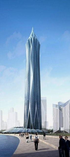 Diamond Tower, Gujarat International Finance Tec-City (GIFT), Gandhinagar, India by Ecadi Architects :: 87 floors, height 405m
