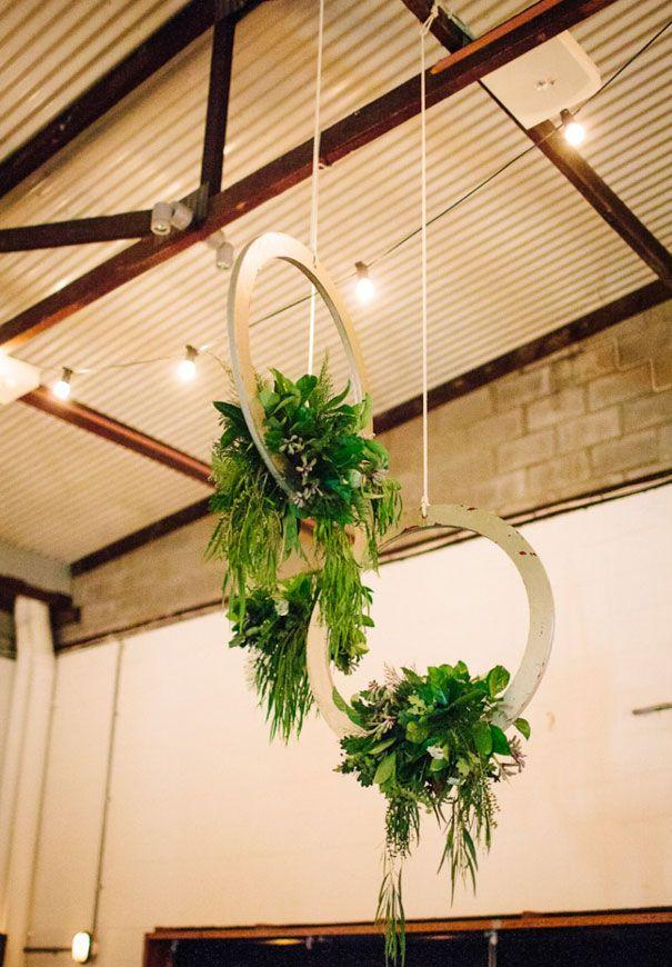 flowers in wood hoops, hanging wedding flowers, reception wedding flowers
