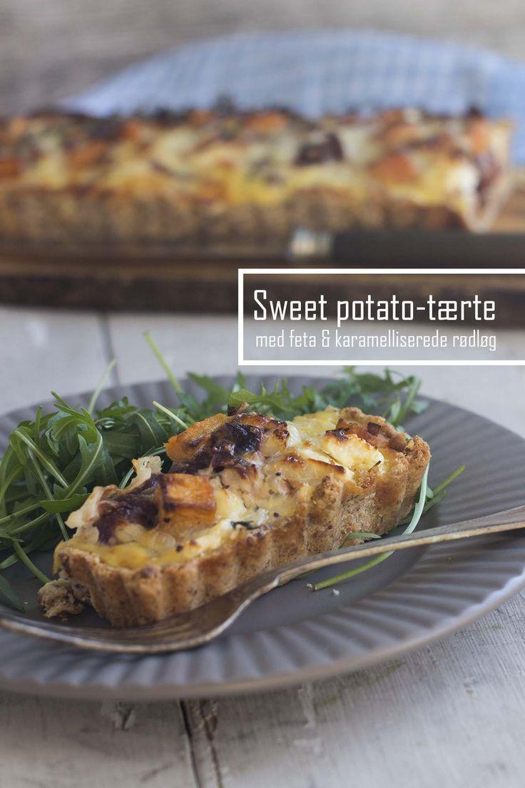 Sweet potato tærte med feta og karamelliserede rødløg #glutenfree #lchf