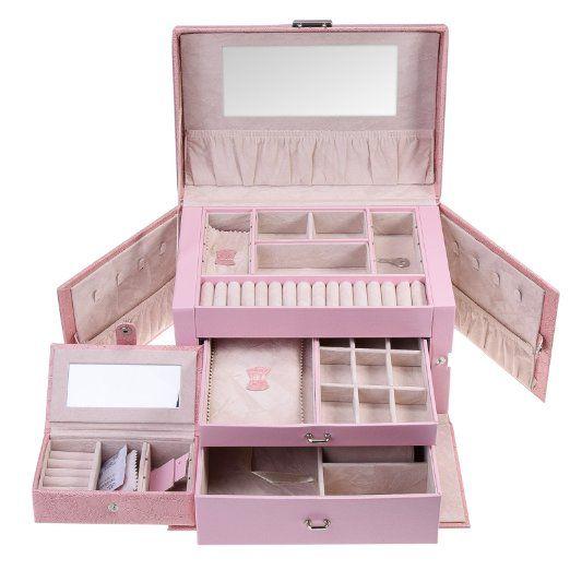 JZK® PU portagioie cofanetto orologi scatola beauty case da viaggio armadietto vassoio per gioielli (Situato IT) (rosa)