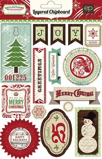 Echo Park - Reflections Collection - Christmas - Layered Chipboard Stickers at Scrapbook.com
