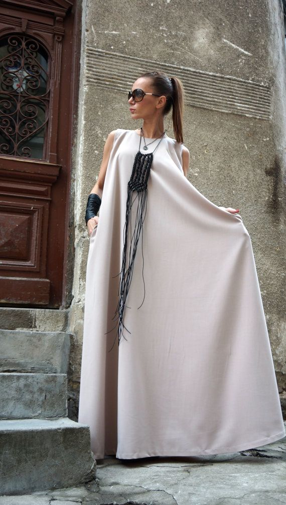 NEW  2016 Maxi Dress / Powder  Kaftan / Extravagant Long  Dress / Party Dress / Daywear Dress with side pockets by AAKASHA A03370