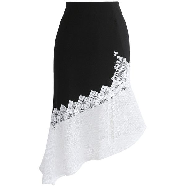 Chicwish Trendsetting Asymmetric Frill Hem Pencil Skirt (1 185 UAH) ❤ liked on Polyvore featuring skirts, black, colorblock skirts, asymmetrical ruffle skirt, color block skirts, block print skirts and pencil skirts