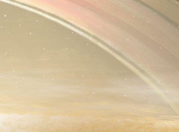 Saturno - Em dias limpos, os anéis seriam de tirar o fôlego, assim como a grande lua Titã, que é laranja-escura. O problema é que quase sempre as nuvens de amônia e hidrossulfeto de amônia deixariam o céu como o de Júpiter, mas mais esbranquiçado.