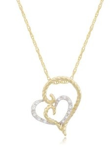 Yellow Gold Plated Silver Rope Double Heart Pendant Necklace