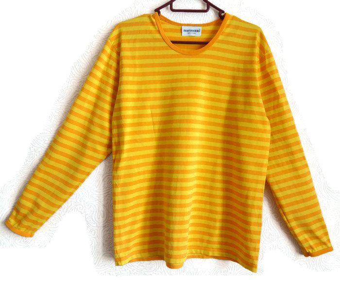 MARIMEKKO Yellow & Orange Striped Top Long Sleeves Nautical Top Cotton Shirt Marimekko Clothing Women's Top Finnish Cloting Everyday Top M by Vintageby2sisters on Etsy