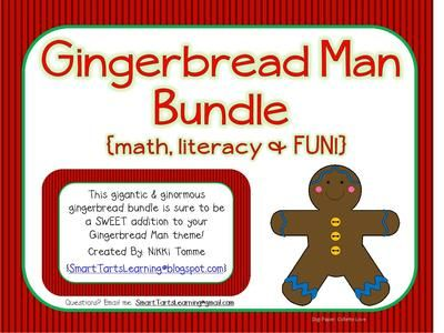 Ginormous Gingerbread Themed Bundle Math, Literacy & FUN! from Smart Tarts Learning on TeachersNotebook.com -  - This gigantic & ginormous gingerbread bundle is sure to be a SWEET addition to your Gingerbread Man theme!   Created By: Nikki Tomme {SmartTartsLearning@blogspot.com}