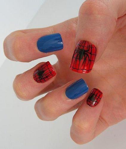 Spiderman Nail art...makes me think of Megan!