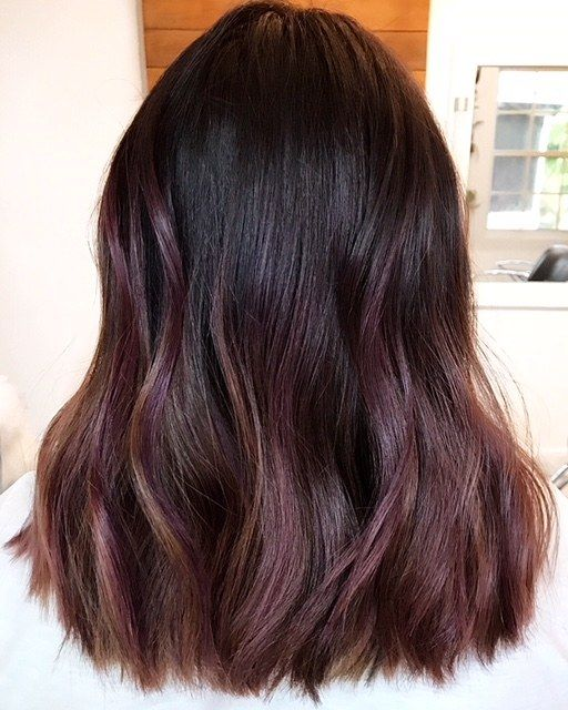 How To Try The Violet Copper Hair Trend Without Bleaching Your Whole Head Hair Balayage Hair Dark Short Blonde Hair