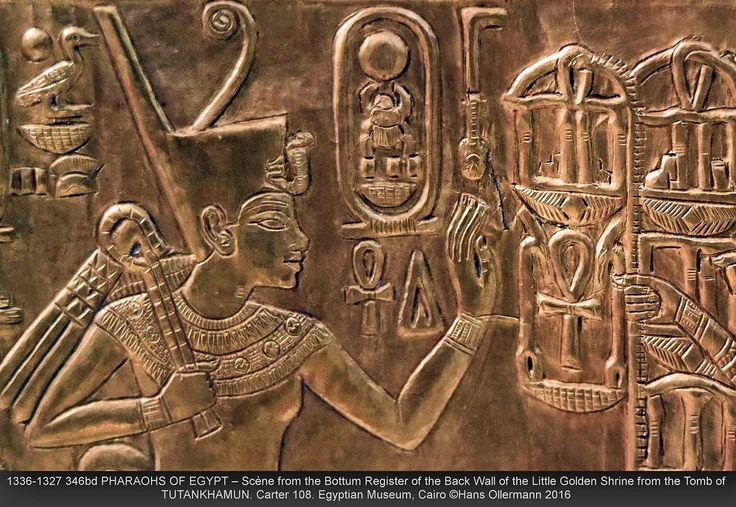 https://flic.kr/p/ToNimW | 1336-1327 346bd PHARAOHS OF EGYPT – Scène from the Bottom Register of the Back Wall of the Little Golden Shrine from the Tomb of TUTANKHAMUN. Carter 108. Egyptian Museum, Cairo ©Hans Ollermann 2016 | In this beautiful scene from the bottom register of the Back Wall of the Little Golden Shrine of the king we see Tutankhamun, holding a crook and the flail, seated on a traditional throne, the Throne of Horus. Carter 108. Egyptian Museum, Cairo. Tutankhamun was an…