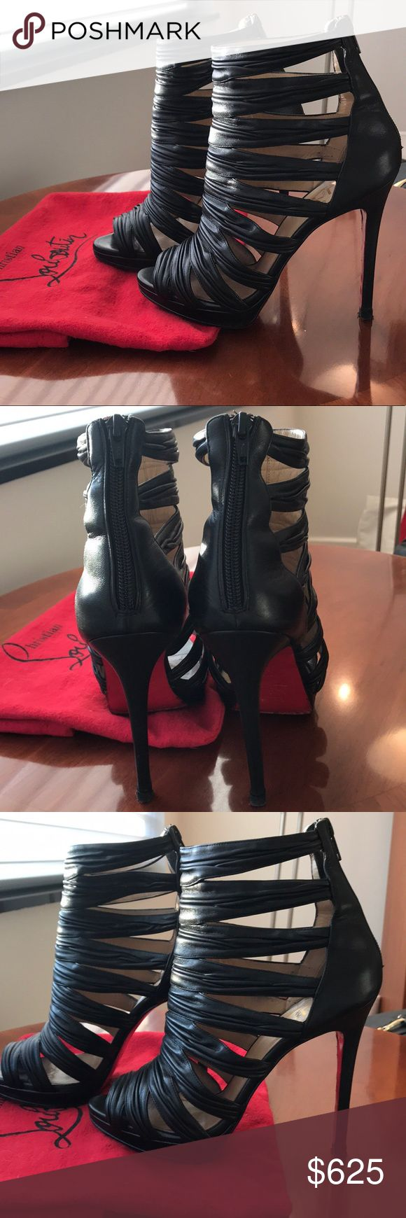 """Christian Louboutin Peep Toe Sandals ❤️ Christian Louboutin strappy black leather sandals Comes with original dust cover and sole protector, no box  Made in Italy  Size: US 7  (37 Euro) Heel height: 5"""" Platform height 1/2"""" Beige leather interior Seller based in Manhattan, New York Pre-worn, good condition Christian Louboutin Shoes Heels"""