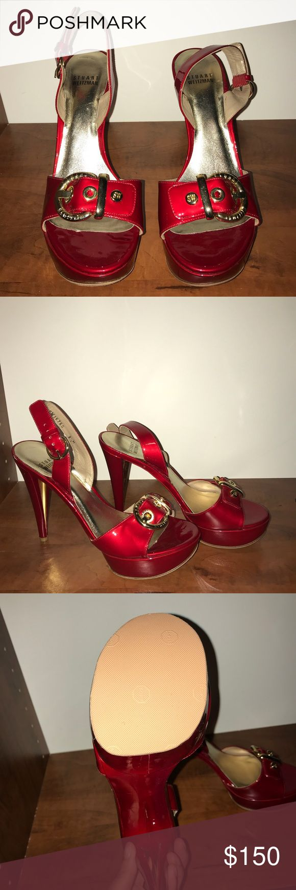 Red Patent. Sexy & fun shoe. Red. Strappy. Patent. Sandal. Rubber sole protector. Stuart Weitzman Shoes Sandals