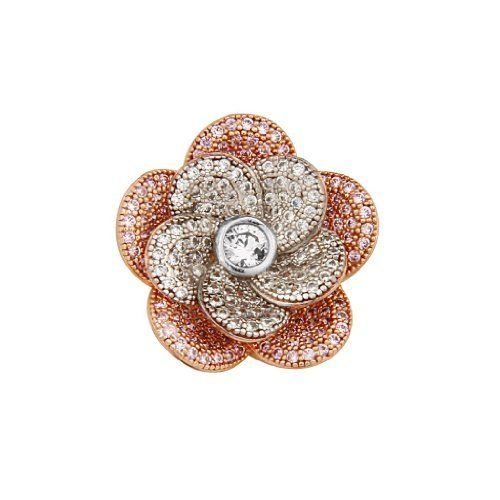 .925 Two Tone Rose Gold Plated Sterling Silver CZ Blooming Flower Design Fashion Charm Pendant GoldenMine. $113.00. Promptly Packaged with Free Gift Box...Perfect for Gift Giving. Special manufacturing process held to ensure less wear and tarnish. Rhodium coated for more shine.. This item showcases the finest Sterling Silver available today!