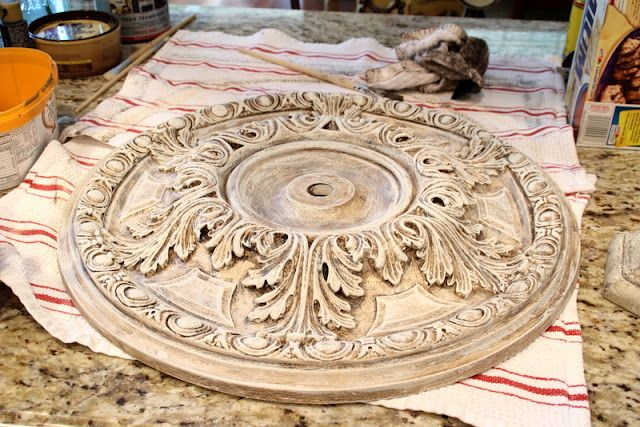 Nice ceiling medallion DIY glaze job!  Love it