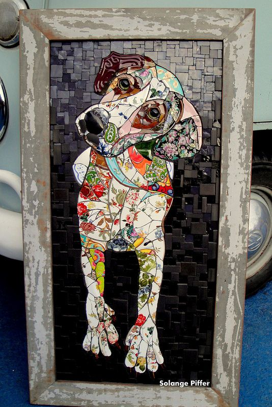 Mosaic dog by Solange Piffer...i would love to do one of these of my tortoise shell cat, I'm sure it would take me years lol