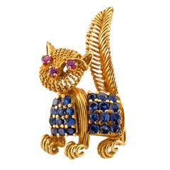 Tiffany & Co. Sapphire Ruby Gold Cat Brooch