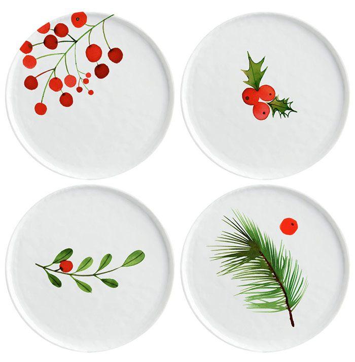 Margaret Berg Art: Christmas+Berry+&+Holly+Plates