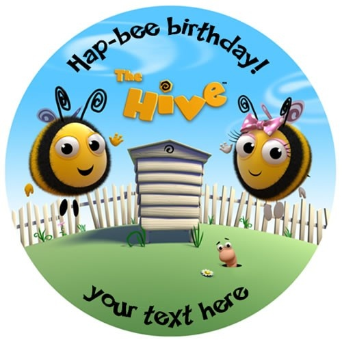 The Hive Scene Round  Edible Icing Caketopper - Personalised.  Just place on top of your iced cake!
