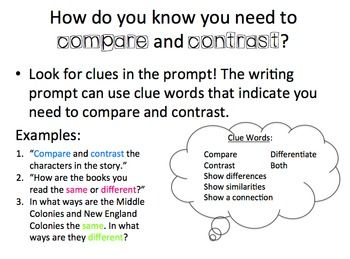 Key words compare contrast essay