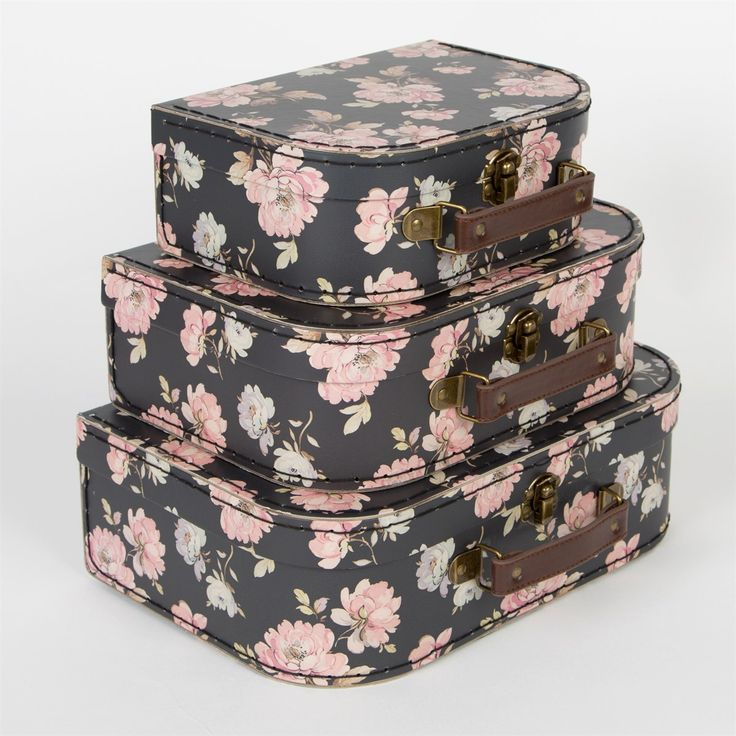Set of 3 French Rose Suitcases