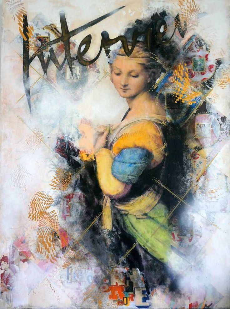 """Saatchi Art Artist Isabelle Joubert; Collage, """"Sistine Madonna's interview"""" #art"""