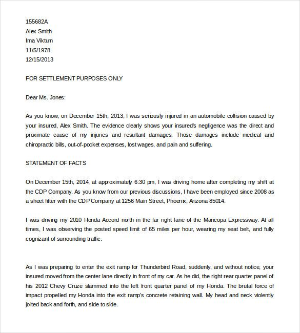 demand letter template free word pdf documents download car accident claim