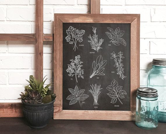 botanical kitchen art  chalkboard  kitchen art  by DevonDesignCo