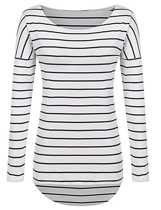 a63c66424dbc Striped Long Sleeve T-Shirts High-Low Hem Long Shirts Tunic Tops For  Leggings For Women (M-US 6-8, Black and White Stripes) at Amazon Women's  Clothing store ...