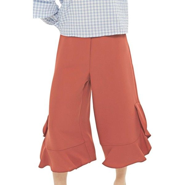 Petite Women's Topshop Frill Hem Culottes (310 AED) ❤ liked on Polyvore featuring pants, capris, light burgundy, petite, petite trousers, high-waisted trousers, burgundy high waisted pants, red ruffle pants and red trousers