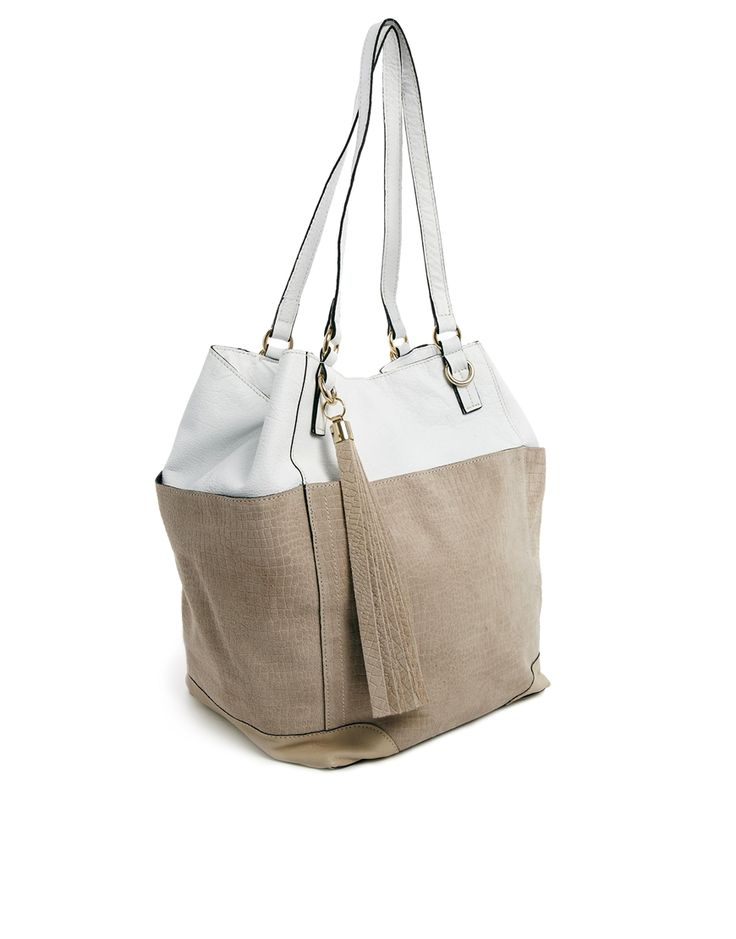River Island White Leather Winged Slouch Bag