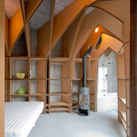 Amsterdam Designer Jeroen Van Mechelen Of Studio JVM Created A Vaulted Cardboard Guest Room Inside Villa Carved Out Mountain In Vals Switzerland