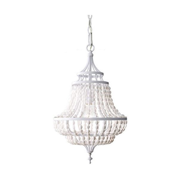 Feiss Maarid White Semi Gloss 20.5-Inch One Light Mini Chandelier ($368) ❤ liked on Polyvore featuring home, lighting, ceiling lights, white beaded chandelier, white mini lights, feiss lighting, birdcage chandelier and beaded chandelier