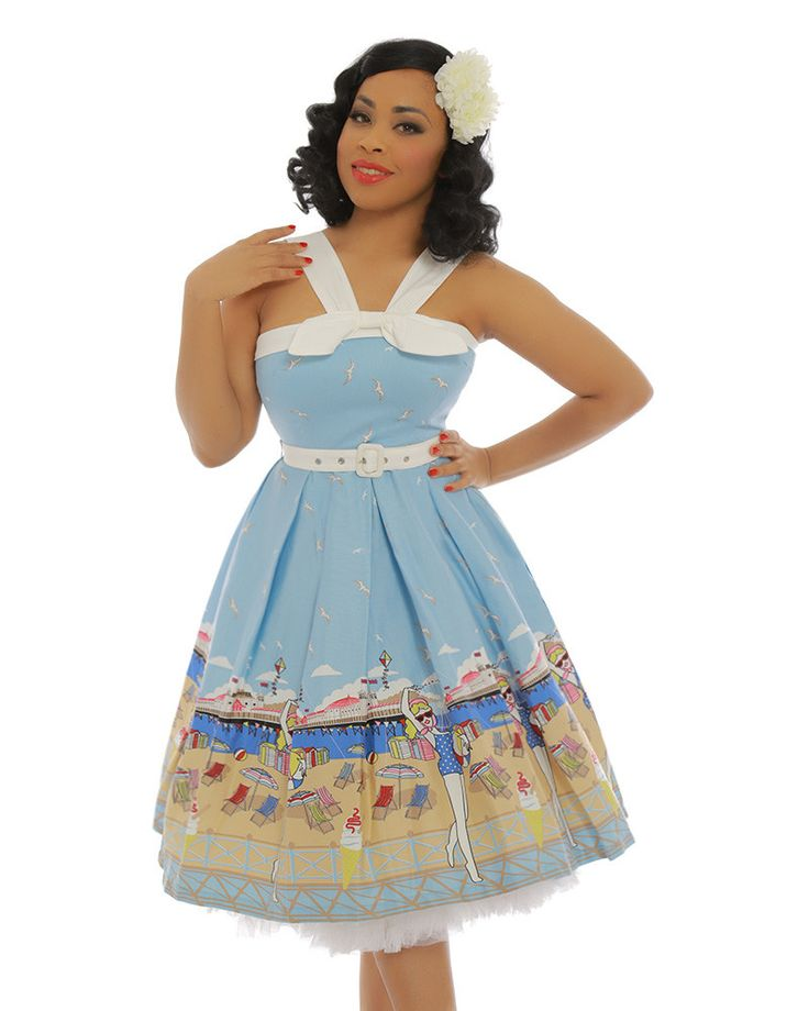 'Bailee' Blue Brighton Pier Print Swing Dress - New In