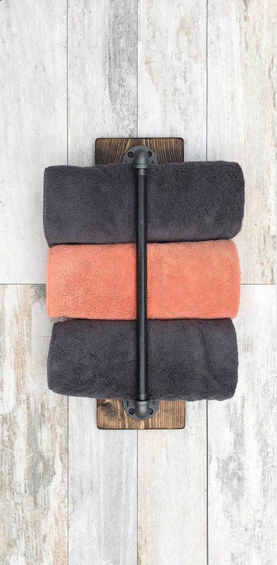 Vertical Towel Holder Rustic Industrial Handmade by Lightrooom