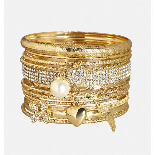 Avenue Love Charm Bangle Set 16 Liked On Polyvore Featuring Jewelry Bracelets