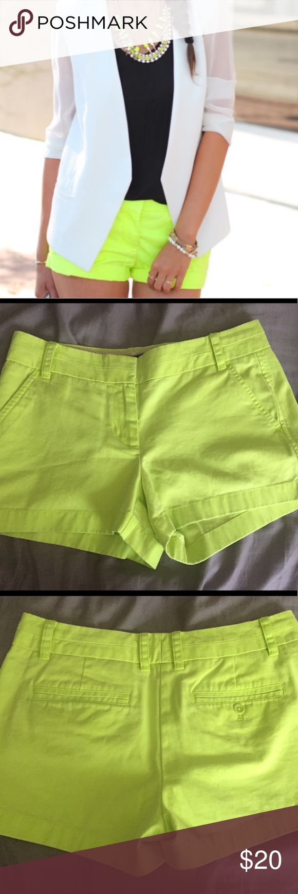 J Crew neon green chino shorts 4 Preppy outfit Excellent used condition. No flaws only a pinhole from where the tag was removed. Size: 4 color: neon green. No stains or rips. Smoke free home. J. Crew Shorts