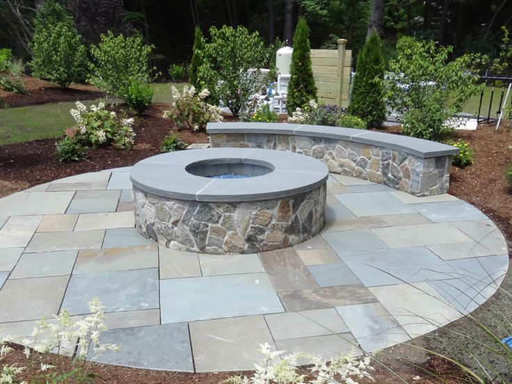 Stone Fire Pit With Bench Yard Pinterest