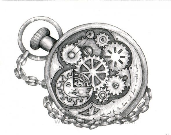 Steampunk Tattoo - I am not so into the sun in it, but tweaked to be personal to me would be so cute.