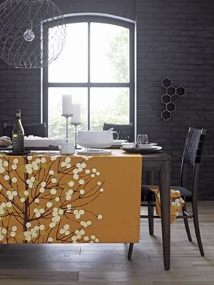 Marimekko Lumimarja Orange Tablecloth, I am so going to try making this as a wall hanging for my livingroom.