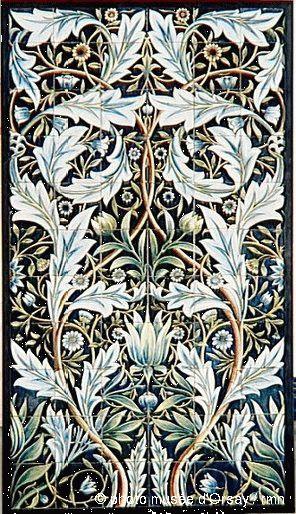 William Morris (1834-1896) ; William Frend De Morgan (1839-1917) Panneau de revêtement mural1876-1877 Montage de 66 carreaux de faïence émaillée