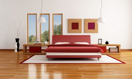 Red Beds and White Wall Decorating in Japanese Modern Bedroom Furniture Sets Interior Designs Ideas