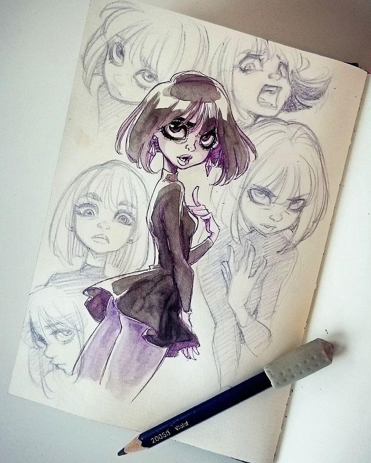 """asurocksportfolio: """" 2016 Facial expressions sketch of Hotaru Tomoe, Sailor Saturn ♥ Col-Erase, Hi-Tech pen, watercolor """""""