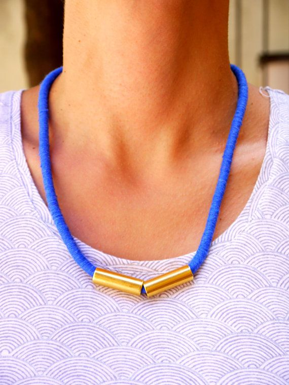 Vivid blue and gold tube necklace by FabLabCrafts on Etsy